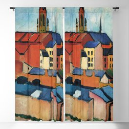 """August Macke """"St. Mary's with Houses and Chimney (Bonn)"""" Blackout Curtain"""