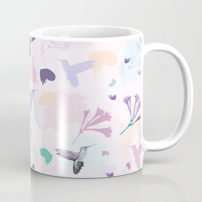 Hummingbird and flower pastel petal pattern Coffee Mug