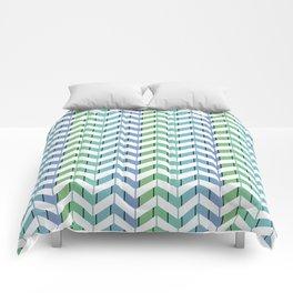 Zigzag striped pattern. Blue, green, white stripes Comforters