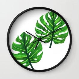 green monstera leaves illustration Wall Clock
