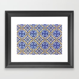 Close-up of blue, white and yellow ceramic wall tiles in Tavira, Portugal Framed Art Print