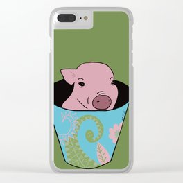 Chris P Bacon Piglet In A Bucket Clear iPhone Case