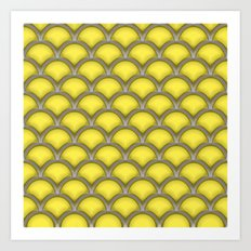 Large scallops in buttercup yellow Art Print