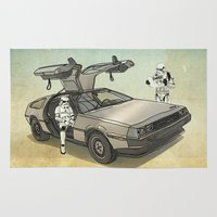 delorean Area & Throw Rugs featuring Lost, searching for the DeathStarr _ 2 Stormtrooopers in a DeLorean  by Vin Zzep