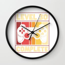 Level 30 Complete - Gaming, Birthday Wall Clock