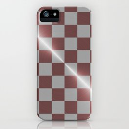 Rose gold and silver 8 by 8 chess board iPhone Case