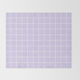 Lavender white minimalist grid pattern Throw Blanket