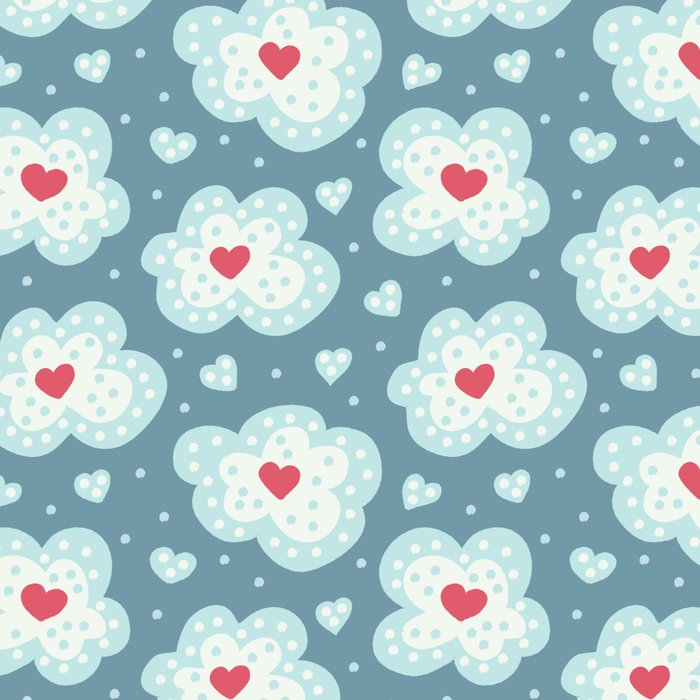Cute snowy clouds with hearts pattern