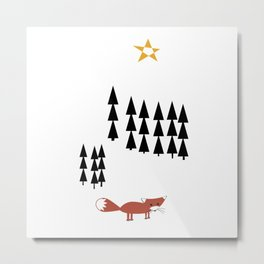 The fox in the forest of triangles Metal Print