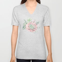 Perfect Pink Succulent Unisex V-Neck
