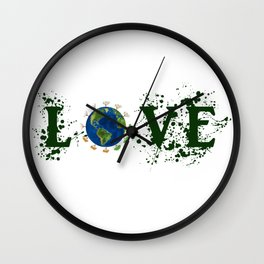 Earth Day Love Mother Earth Wall Clock