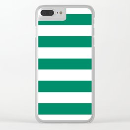Spanish viridian - solid color - white stripes pattern Clear iPhone Case
