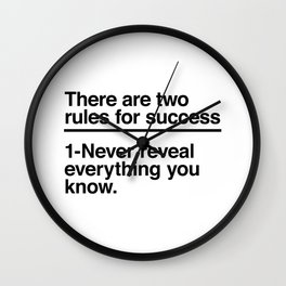 Two Rules For Success Wall Clock