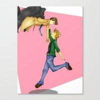 destiel Canvas Prints featuring Destiel by doodle bags