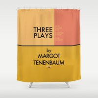 tenenbaum Shower Curtains featuring Three Plays By Margot Tenenbaum by FunnyFaceArt