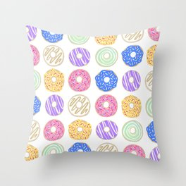 Colorful Donuts Illustration Throw Pillow