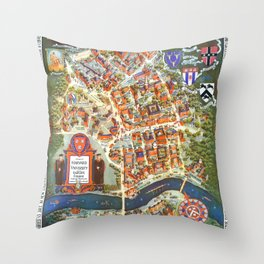 HARVARD University map MASSACHUSETTS Throw Pillow