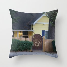 Yellow House with Moon Gate Throw Pillow