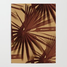 Burgundy and Coffee Tropical Beach Palm Vector Poster