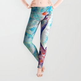 3047-JPC Abstract Nude in Blue Green Yoga Stretch Feminine Power Leggings