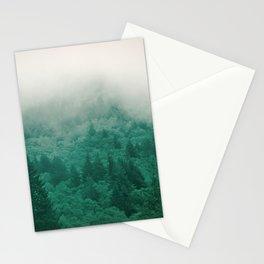 Misty Moody Mountain Forest Fog Northwest Oregon Washington Stationery Cards