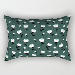 Paper cut cotton boll flowers fall bloom green teal Rectangular Pillow
