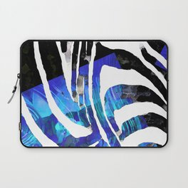Blue And Black Abstract Zebra Art - Sharon Cummings Laptop Sleeve