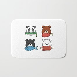 The Four Funny Bears Eating Food Bath Mat