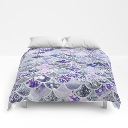 Purple and Ultra Violet Trendy Glitter Mermaid Scales Comforters