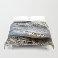 crocodile Duvet Covers featuring Crocodile by Laura Grove