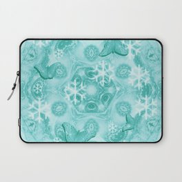 Butterflies and snow in blue Laptop Sleeve