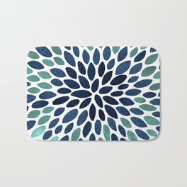 Flower Bloom, Aqua and Navy Bath Mat