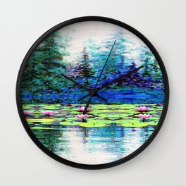 BLUE SPRUCE GREEN LILY PADS LAKE ART Wall Clock