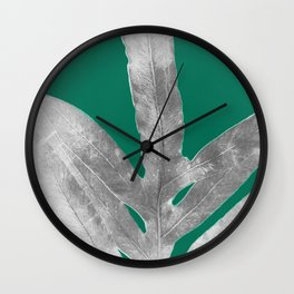 Christmas Fern, Holiday Green with Silver Winter Leaf Wall Clock