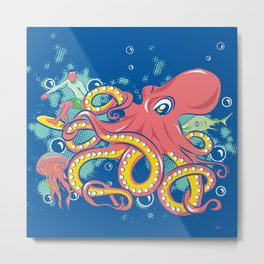 Octopus and Friends Metal Print