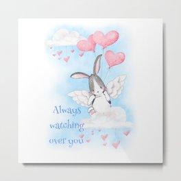 Angel bunny always watching over you Metal Print
