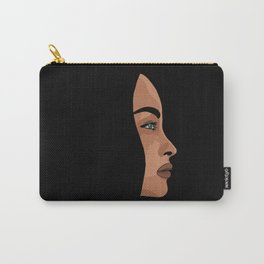 Woman's face side portrait on a black background - minimalist illustration Carry-All Pouch