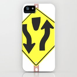 """""""Divided highway"""" - 3d illustration of yellow roadsign isolated on white background iPhone Case"""