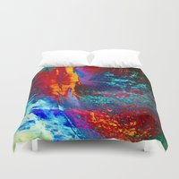 fight Duvet Covers featuring Elements' Fight by Klara Acel