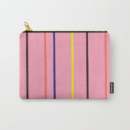 Colorful Stripes on a Pink Background Carry-All Pouch