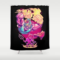diablo Shower Curtains featuring LUCHADORO VS EL DIABLO by BeastWreck