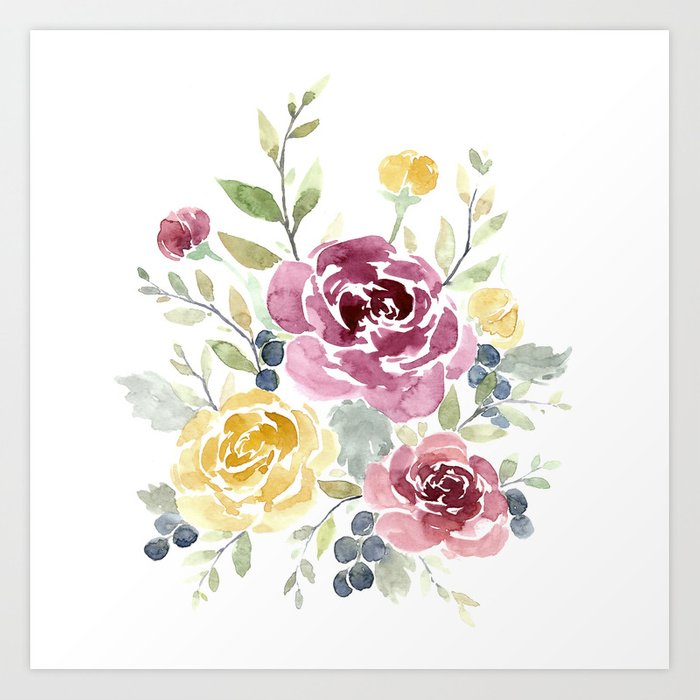 fall watercolor flowers art print by katrinacrouch society6