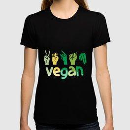 Vegan Veganism Life Choice non meat Colorful ASL American Sign Language deaf community gift T-shirt