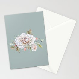 Watercolor White Rose Sprig Stationery Cards
