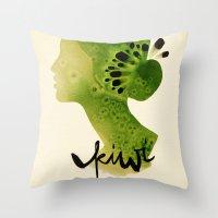 kiwi Throw Pillows featuring Kiwi by Ekaterina Koroleva