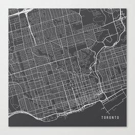 Toronto Map, Canada - Gray Canvas Print