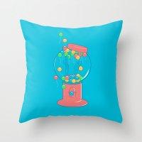 gumball Throw Pillows featuring Balloon, Gumball by Ava Guerrero