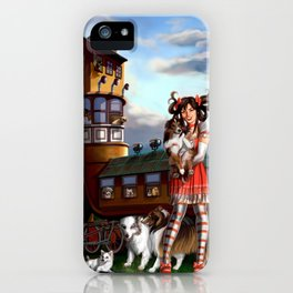 Gothic Lolita in the Shoe with Dogs iPhone Case
