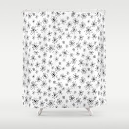 Loopy Flowers - Black on White Shower Curtain