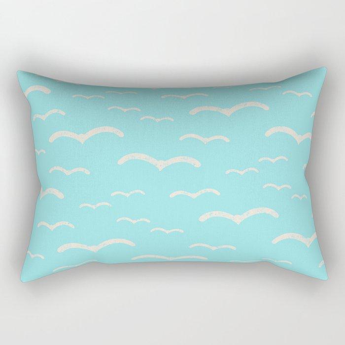 Beach Series Aqua- Sea Gulls Birds in the blue Sky Rectangular Pillow